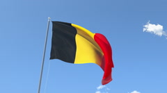 The flag of Belgium Waving on the Wind. Stock Footage