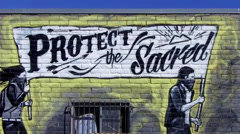 Protect The Sacred Mural On Native American Thrift Store Stock Footage