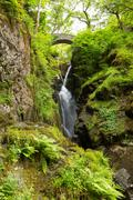 Stock Photo of Aira Force waterfall Ullswater Valley Lake District Cumbria England UK