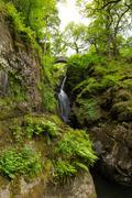 Aira Force waterfall Ullswater Valley Lake District Cumbria England UK - stock photo