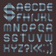 font from bluish scotch tape -  roman alphabet - stock illustration