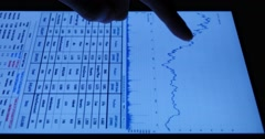 4k Businessman work on tablet with diagrams,finger touching finance pie charts. Stock Footage