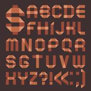 font from brownish scotch tape -  roman alphabet - stock illustration