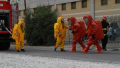 firefighters with biohazard - stock footage