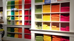 Stack of color towels on display. Stock Footage