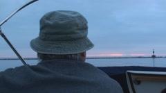 Boat ride toward sunrise Stock Footage