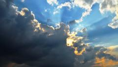 Dark storm clouds cover the sun Stock Footage