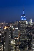 New York City with skyscrapers at sunset Stock Photos