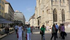 The Stephansplatz in the old town of Vienna with the Stephansdom Stock Footage