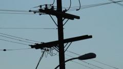 USA Los Angeles telephone pole line cloudy sunset 2 Stock Footage