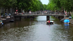 Stock Video Footage of The bridges of Amsterdam with lots of bikes attached