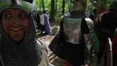The Knights in full armor before the battle Stock Footage