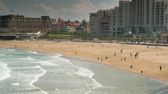 Biarritz france timelapse city surfers sea Stock Footage