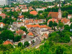 Aerial view from tower of district gdansk buildings. urban Stock Photos