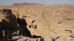 Pan on Namibian canyon Stock Footage