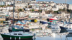 Brixham devon england coast boats timelapse Stock Footage