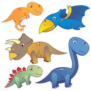 Five dinosaurs on white background Stock Illustration