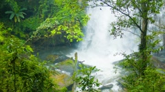View of the falls through the trees. shoot with zoom. chiang rai, thailand Stock Footage