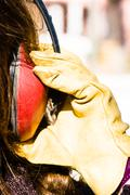 Ear muff to protect workers' ears Stock Photos