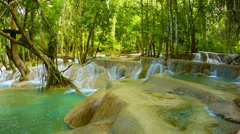 Kouang si waterfall, laos, luang prabang. general view Stock Footage