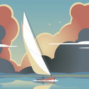 evening sail - stock illustration