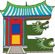 Temple as letter e Stock Illustration