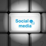 Social media concept with computer keyboard Stock Illustration