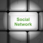 Stock Illustration of social network concept with computer keyboard