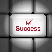success concept with computer keyboard - stock illustration