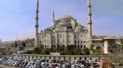 Aerial drone footage of the Blue Mosque (Sultan Ahmed Mosque) in Istanbul Stock Footage