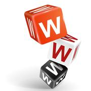 3d dice illustration with word www - stock illustration