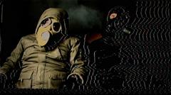 Gas mask men poison Stock Footage