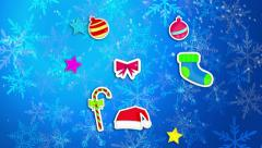 Christmas Ornament Blue Background Loop Animation - 4K Resolution Ultra HD (UHD) Stock Footage
