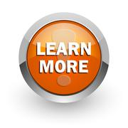 learn more orange glossy web icon - stock illustration