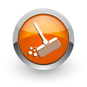 broom orange glossy web icon - stock illustration