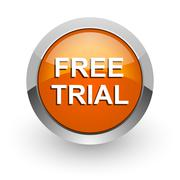 Free trial orange glossy web icon Stock Illustration