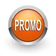 promo orange glossy web icon - stock illustration