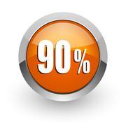 90 percent orange glossy web icon Stock Illustration
