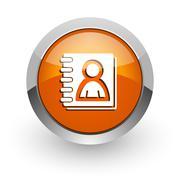 address book orange glossy web icon - stock illustration