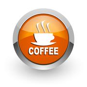 Espresso orange glossy web icon Stock Illustration