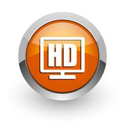 hd display orange glossy web icon - stock illustration