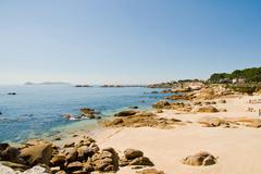 san vicente beach en el grove, galicia, spain - stock photo