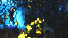 Crowd concert fans teenage enjoy in music clubbing  festival Stock Footage