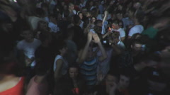 Fans concert crowd teenage enjoy in music festival  ,fish eye effects Stock Footage