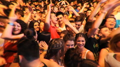 concert crowd teenage enjoy in music festival  ,fish eye effects Stock Footage