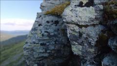 The picturesque rock with a moss Stock Footage