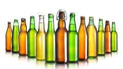 Set of beer bottles without labels isolated on white Stock Photos