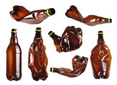 Stock Photo of collection of brown plastic bottles isolated on white