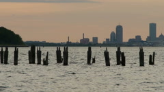 Broken Pilings Boston Harbor at Sunset Stock Footage