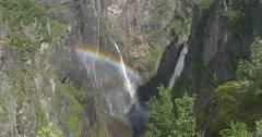 4k, norway, voringsfossen waterfall and rainbow Stock Footage